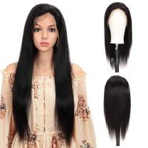 DÉBUT 13 x 4 Human hair Wigs Lace Frontal Wigs for Women 10A Grade Straight Brazilian Virgin Remy Hair 180% Density natural Black Swiss Front Lace with baby hair 32 inches
