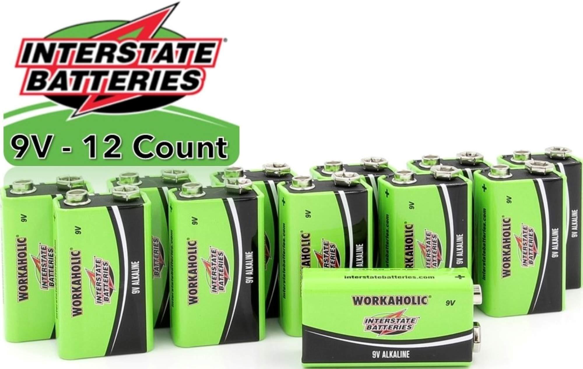 Interstate Batteries 9 Volt All-Purpose Alkaline Battery 12 Pack - Workaholic (DRY0196)