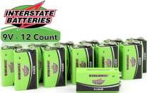Interstate Batteries 9 Volt All-Purpose Alkaline Battery 12 Pack - Workaholic (DRY0196)