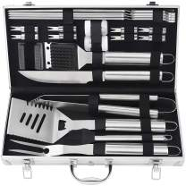 POLIGO 22pcs Barbecue Grill Utensils Kit Stainless Steel BBQ Grill Tools Set - Camping Grill Accessories in Aluminum Case for Christmas Birthday Presents - Ideal Outdoor Grilling Gifts Set for Dad Men
