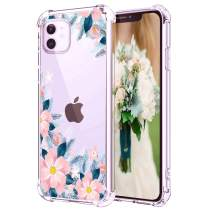 """Hepix iPhone 11 Clear Case Pink Flowers Blooming Floral iPhone 11 Case, Slim Soft Flexible TPU Frame with Protective Bumpers, Rasied Lip Anti-Scratch Shock Absorbing for iPhone 11 (6.1"""") 2019"""