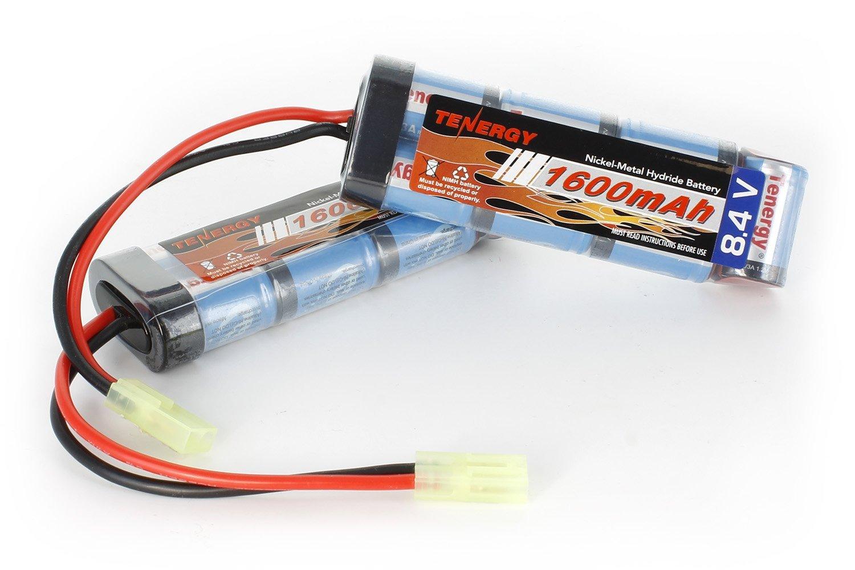 Tenergy Airsoft Battery 8.4V NiMH Battery Pack with Mini Tamiya Connector High Capacity 1600mAh Batteries for Airsoft Guns MP5, SCAR, M249, M240B, M60, G36, M14, RPK, PKM (2 pcs)