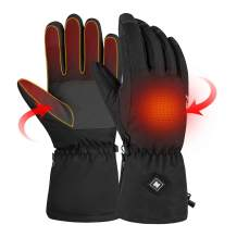 [2019 Upgrade] Winter Heated Gloves for Men Women, Rechargeable Hand Warmers, Electric Heating Ski Gloves for Outdoor Sports