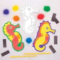Baker Ross Seahorse Sand Art Kit with Magnets (Pack of 6) AW675, Craft Kits for Kids