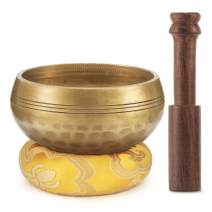Moukey Tibetan Singing Bowl 3.35 Inch Meditation Gong Zen Yoga Bowl Set With Wooden Striker And Cushion Pillow