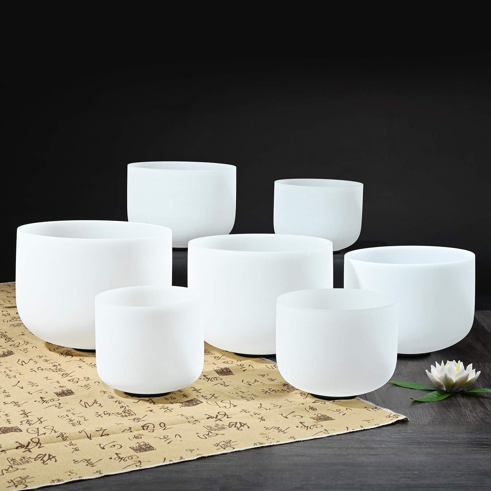 CVNC 432HZ 7-13 Inch Perfect Pitch Set of 7 PCS Frosted Quartz Crystal Singing Bowls Sound Healing Instrument