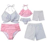 Mommy&Me Family Matching Swimsuit Two Piece Beach Wear Monokini Bathing Swimwear Board Shorts