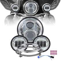 """Atubeix 7inch Led Headlight with 2pcs 4-1/2"""" 4.5 inch Passing daylight Motorcycle Led headlight assembly Kit for Touring Road King Street Glide Fat boy with Mounting Ring 7inch (Headlight kits Chrome)"""