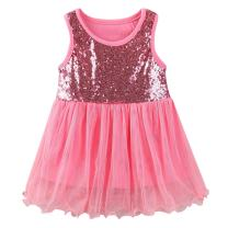 LittleSpring Little Girls' Dress Sleeveless Lace Size 4T(tag120) Watermelon-red