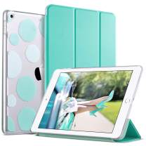 ULAK iPad 6th 5th Generation Case, Slim Trifold Lightweight iPad 9.7 2018/2017 Cases Smart Case Stand Auto Sleep/Wake Hard Back Clear Polka Dot Cover for iPad 9.7 inch iPad 5th / 6th Generation, Mint