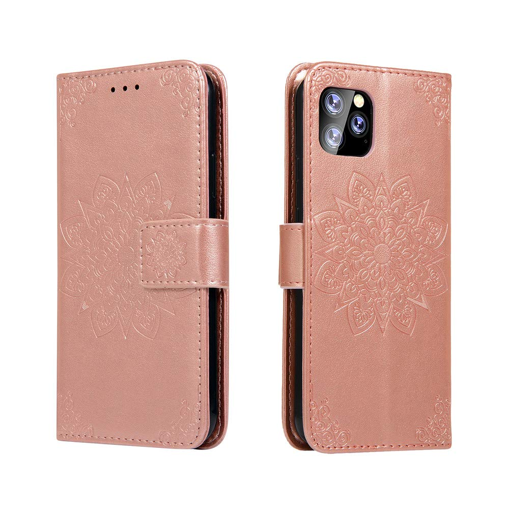 MEUPZZK iPhone 11 Pro 5.8 inch Wallet Case, 3D Mandala Flowers Embossed Premium PU Leather Kickstand Flip Phone Cover Card Holders & Hand Strap Wallet Case for iPhone 11 Pro 2019 Rose Gold