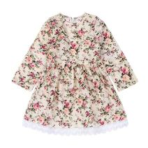 GRNSHTS Baby Girls Floral Lace Long Sleeve Dress