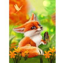 DIY 5D Diamond Painting Square Full Drill Diamond Art by Numbers Kit Diamonds Embroidery for Wall Decor Cute Fox 11.8X15.7inch