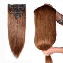 """10''-22'' Double Weft Clip in 100% Remy Human Hair Extensions Grade 7A Quality Full Head Thick Thickened Long Soft Silky Straight 8pcs 18clips for Women Fashion (18"""" / 18 inch 140g, 6 Light Brown)"""