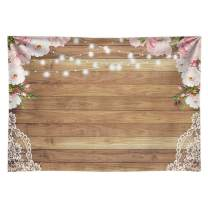 Funnytree 7X5ft Soft Fabric Flowers Wood Lace Rustic Backdrop Durable No Wrinkle Wedding Floral Photography Background Wooden Board Floor Bridal Shower Baby Birthday Party Banner Photo Studio Props