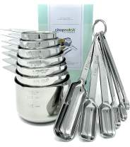 Premium Measuring Cups and Spoons Set by Chopnotch - Complete Set of Stainless Steel Measuring Cups and Stainless Steel Measuring Spoons