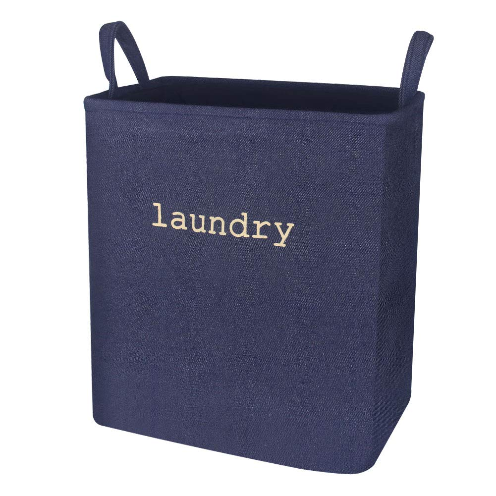 Zeroomade Laundry Basket Clothes Hamper Collapsible Denim Fabric Thickened Elastic Coating Durable Dirty Clothes Large Storage Laundry Organizer(Navy L)