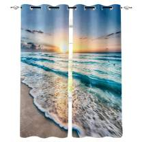 Ocean Beach Window Curtain, Room Darkening Thermal Insulated Blackout Curtain Tropical Ocean Beach Wave Sea Sunset Grommet Curtains Window Treatment Drapes for Bedroom, 2 Panels, 52x84 inch