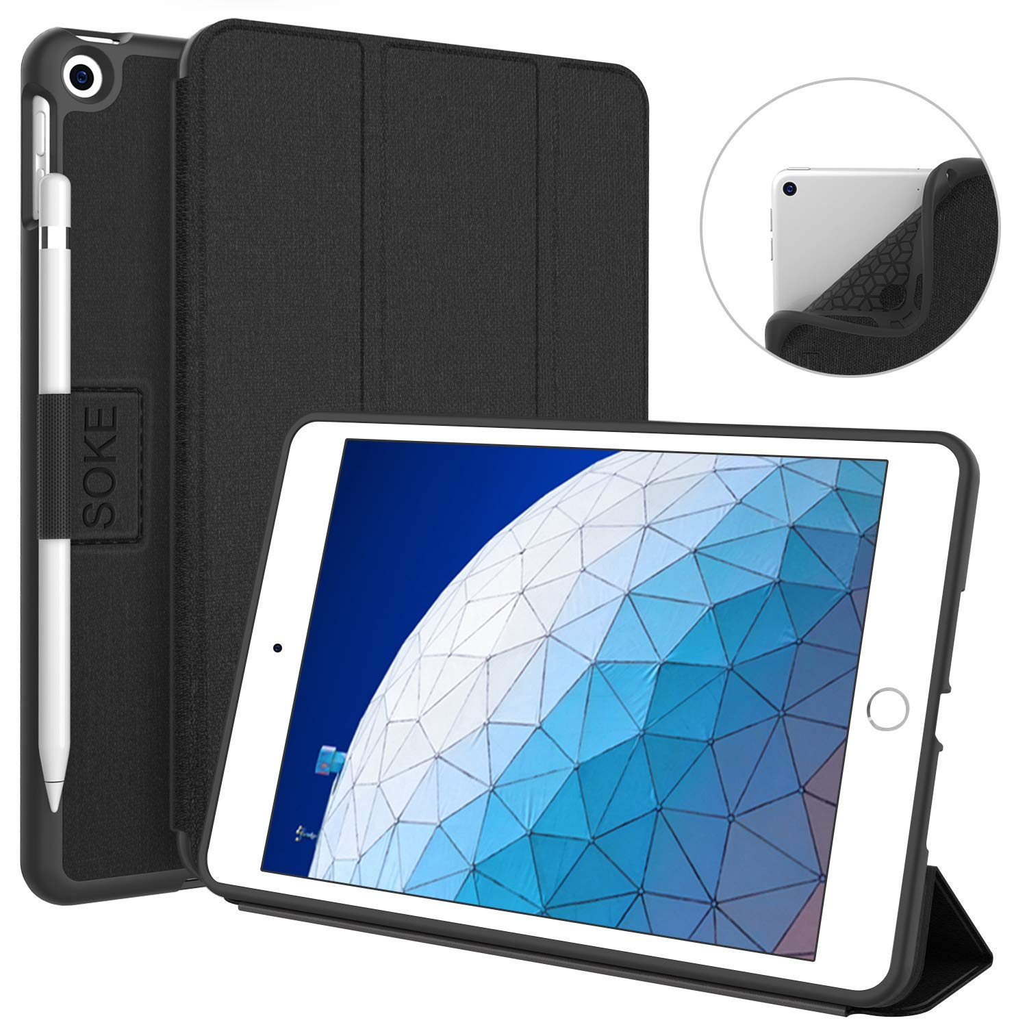 "Soke iPad Air 3 Case 10.5"" 2019 with Pencil Holder, Premium Trifold Case with Strong Protection, Auto Sleep/Wake, Ultra Slim Soft TPU Back Cover for iPad Air 3rd Generation(Black)"