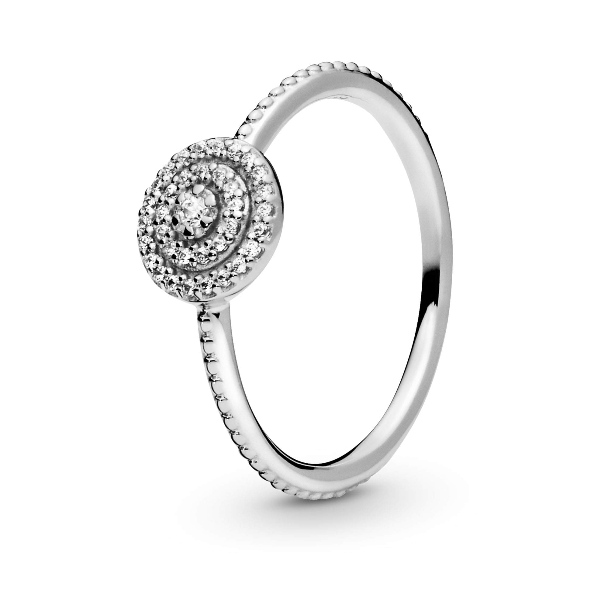 Pandora Jewelry Elegant Sparkle Cubic Zirconia Ring in Sterling Silver, Size 7.5