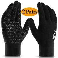 Winter Gloves for Men and Women with Touchscreen,Anti-Slip Silicone Gel Warm Wool Lining knitted Gloves