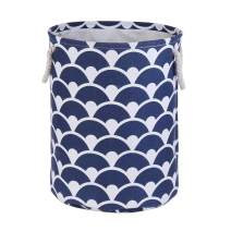 AMROSE Luxury Canvas Laundry Hamper, Sturdy Collapsible Storage Basket with Rope Handles, Fashionable Durable Fabric Storage Bin for Laundry, Toys, Baby Nursery, Navy Blue Spray