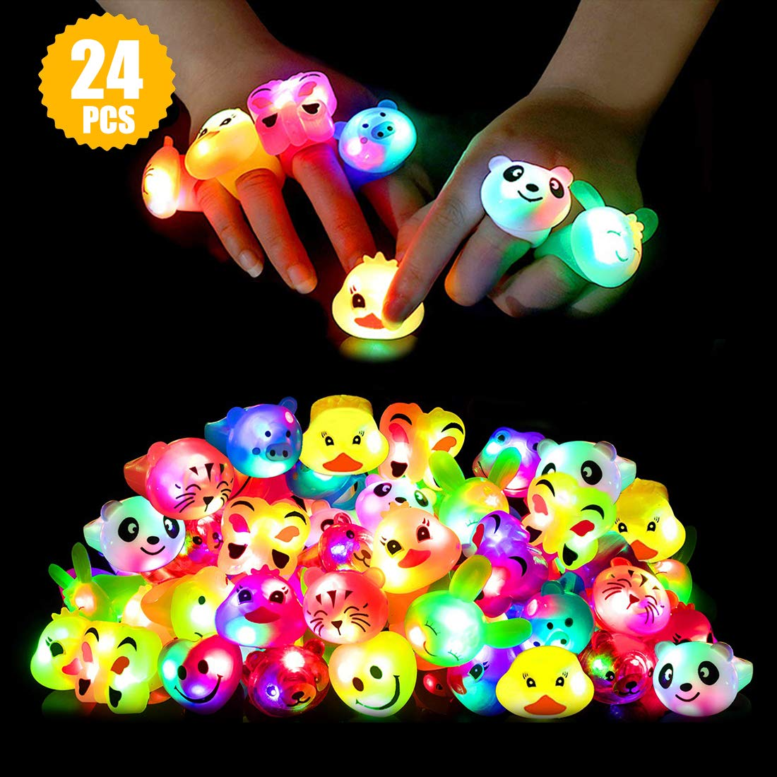 Light Up Rings Birthday Party Favors for Kids Prizes Flashing 24 Pack LED Jelly Rings Novelty Bulk Toys Boys Girls Gift Glow in The Dark Thanksgiving Christmas Party Supplies