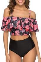 papasgix Womens High Waisted Bikini Swimsuit Retro Ruffled Top Tummy Control Two Piece Tankini Bathing Suits