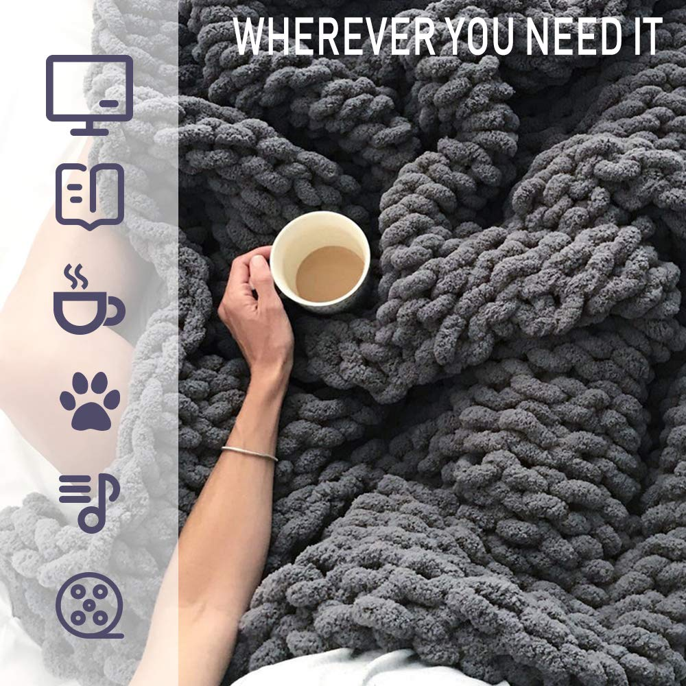 """EASTSURE Luxury Knit Chunky Throw Blanket Premium Super Soft Warm Cozy Chenille Blanket for Couch Bed Chair Dark Grey 50""""x60"""""""