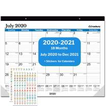 "Cranbury Large Calendar 2020-2021 22x17"" (Blue), 18 Months Big Desk or Wall Calendar July 2020 to December 2021 Use Desk Pad Calendar for Academic Year 2020-2021 and 2021 Calendar, Include Stickers"