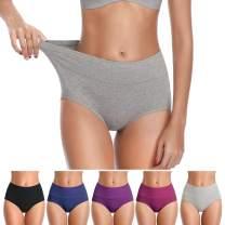 Womens Underwear, No Muffin Top Full Coverage Cotton Underwear Briefs Soft Stretch Breathable Ladies Panties for Women