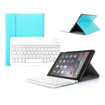CoastaCloud iPad Air 2 Rechargable Wireless Bluetooth Keyboard Case with Folding Leather Folio Smart Fully Protect Case Cover Stand For Apple iPad Air 2 (Skyblue)