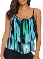 Deralove Women's Stripe Ruffled Tankini Tops Layered Swimwear (No Bottoms,S-3XL)