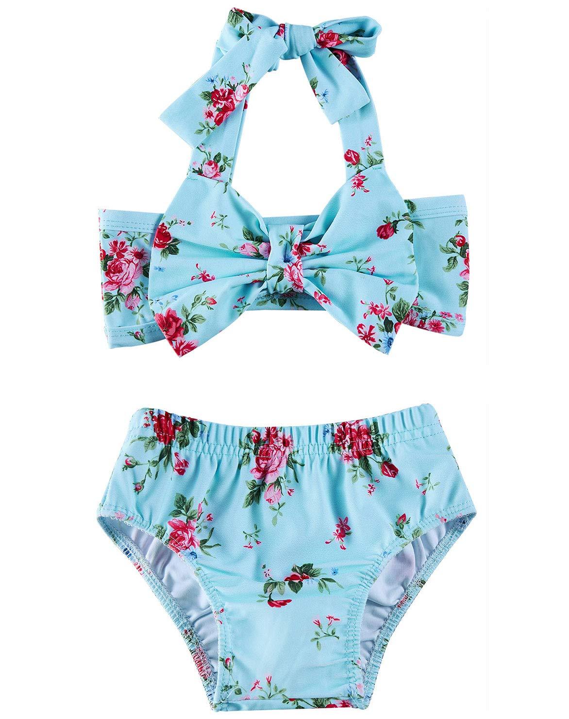 2Pcs Baby Girls Halter Bowknot Tube Top+Floral Short Bottoms Bikini Bathing Suit Swinwear