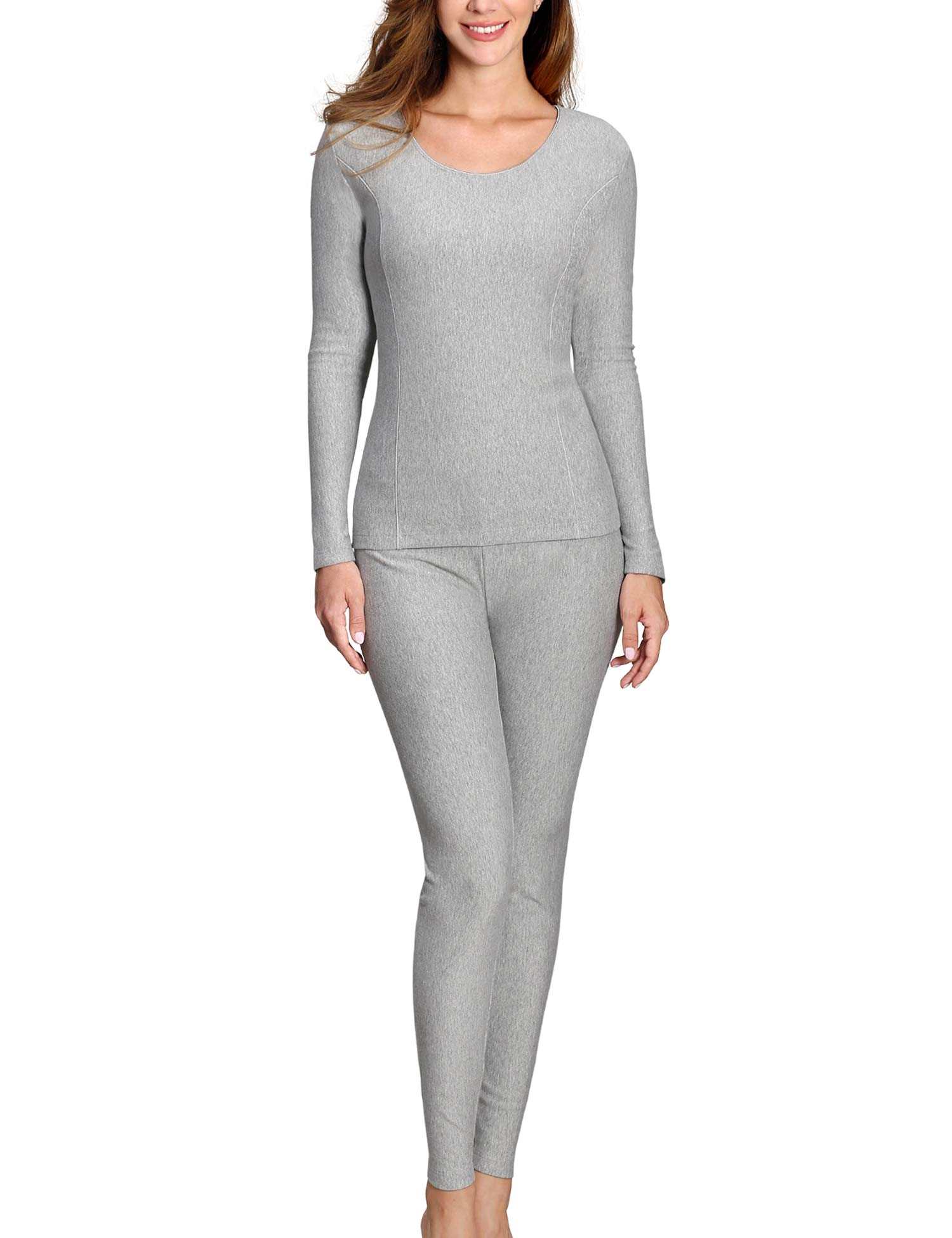 COLORFULLEAF Womens Cotton Thermal Underwear Set Heavyweight Long Johns Fleece Lined