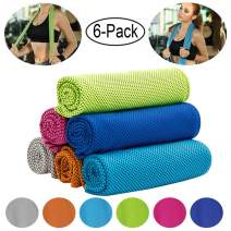 "CHARS Cooling Towel 6 Packs (40""×12""), Microfiber Towel, Fast Drying Towel, Running Towel and Workout Towel for Sports, Workout, Fitness, Gym, Yoga, Running, Travel, Camping (6 Pack, 6 Colors)"