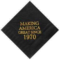 """Crisky 50th Birthday Disposabel Napkins Black and Gold Dessert Beverage Cocktail Cake Napkins 50th Birthday Decoration Party Supplies, Making America Great Since 1970, 100 Pack 4.9""""x4.9"""" Folded"""