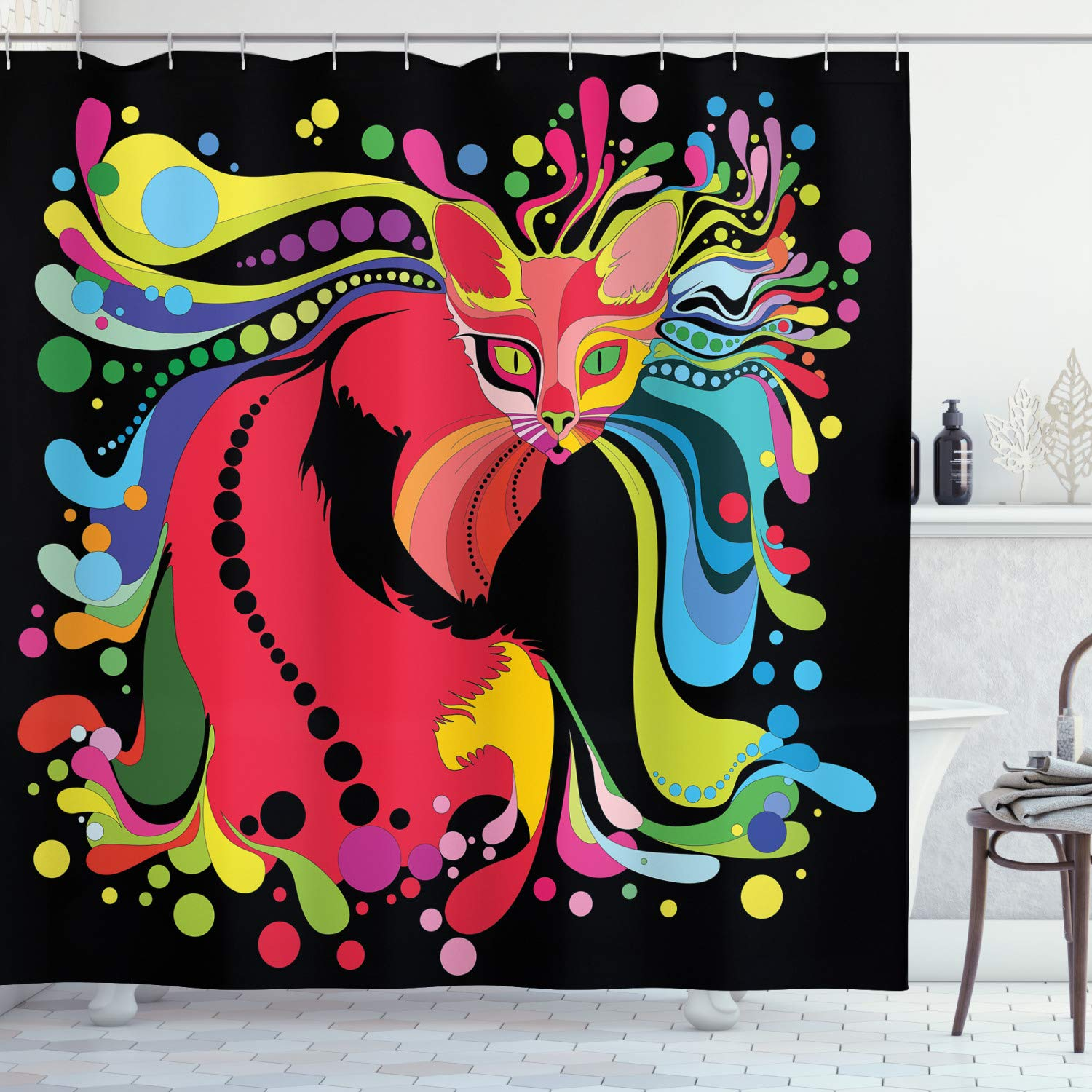 """Ambesonne Psychedelic Shower Curtain, Futuristic Kitty Visual Print Fluid Swirling Color Burst Motifs Kitty Graphic, Cloth Fabric Bathroom Decor Set with Hooks, 75"""" Long, Black Pink"""