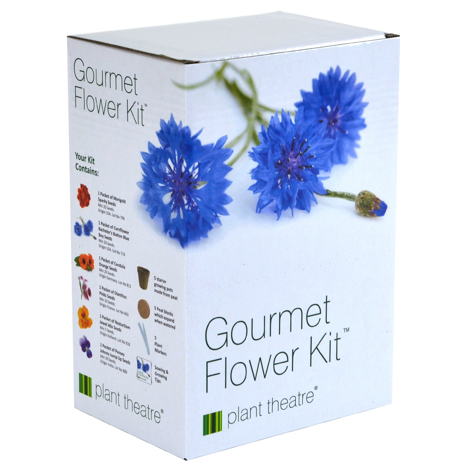 Plant Theatre Gourmet Flower Seed Kit Gift Box - 6 Edible Flower Varieties to Grow, Includes BATCHELORS Button Blue BOY, Calendula, Dianthus, Marigold Sparky, Nasturtium & Johnny Jump UP Pansy Seeds