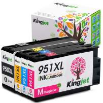 Kingjet Compatible Replacements for 950 951, 950XL 951XL Ink Cartridges Work with Officejet Pro 8100 8600 8610 8620 Printers, 1 Set (1Black 1Cyan 1Magenta 1Yellow)