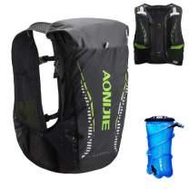 TRIWONDER Hydration Vest 18L Ultra Trail Running Backpack Pack Marathon Vest Outdoor Runner Race Vest (Black&Green - with 2L TPU Water Bladder, S/M - 30.7-38.6in)