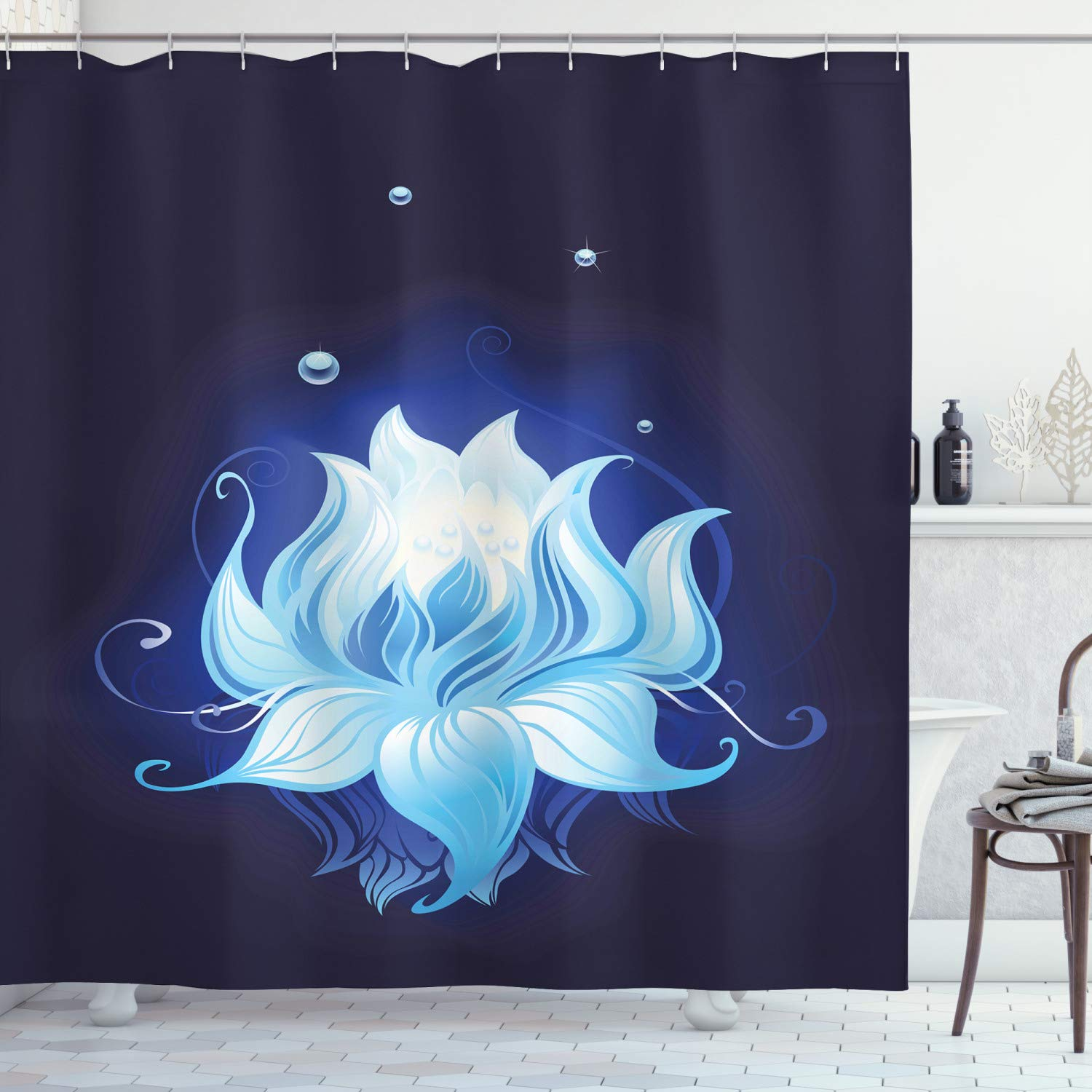 """Ambesonne Floral Shower Curtain, Lotus with Dew Drops Reflected in Dark Water Background Yoga Spirit Image, Cloth Fabric Bathroom Decor Set with Hooks, 70"""" Long, Indigo Blue"""