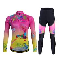 AIPEILEI Women's Cycling Jersey Sets Long Sleeve Cycling Clothing with Padded Pants Warm Biking Sets for Women
