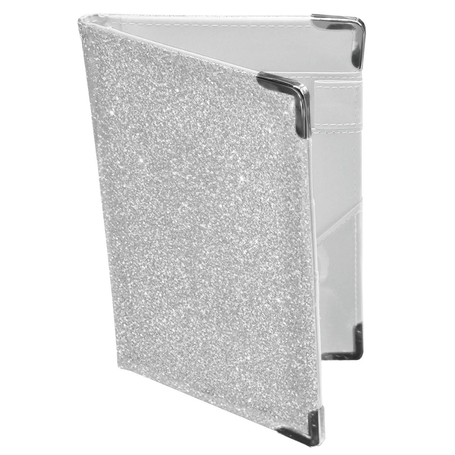 Holographic Glitter Silver Server Book Organizer for Waitress | 10 Pockets, 4 Metal Protective Corners, Zipper Pouch and Pen Holder | Waiter Waitress Wallet for Restaurant waitstaff | Silver