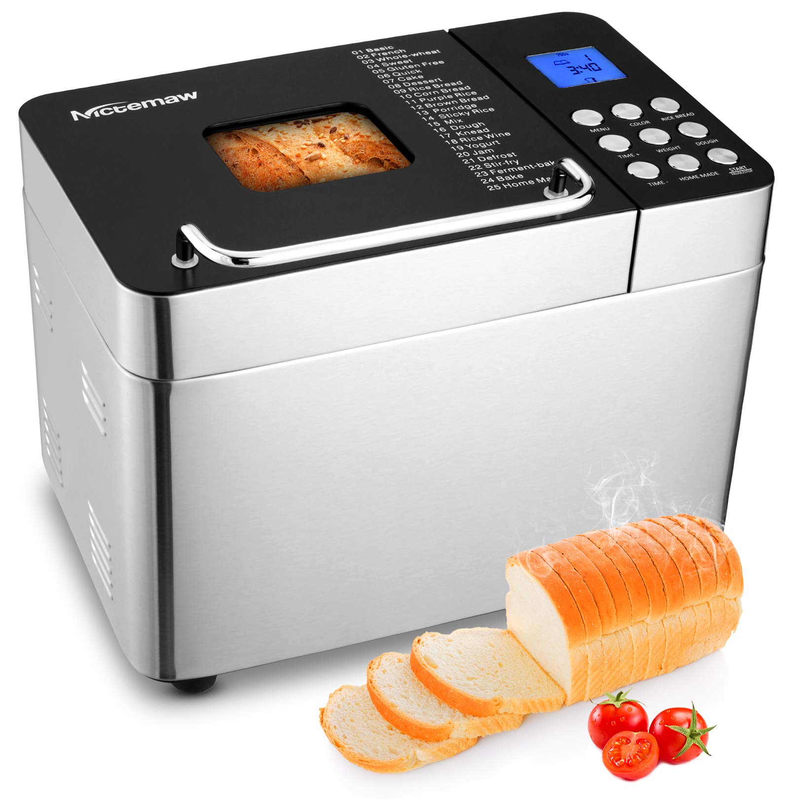 Nictemaw Bread Machine, 2LB 25-in-1 Stainless Steel Programmable Bread Maker Machine, Breadmaker with Nonstick Ceramic Pan, Button Design + Digital Display,15H Reserve, 1H Keep Warm