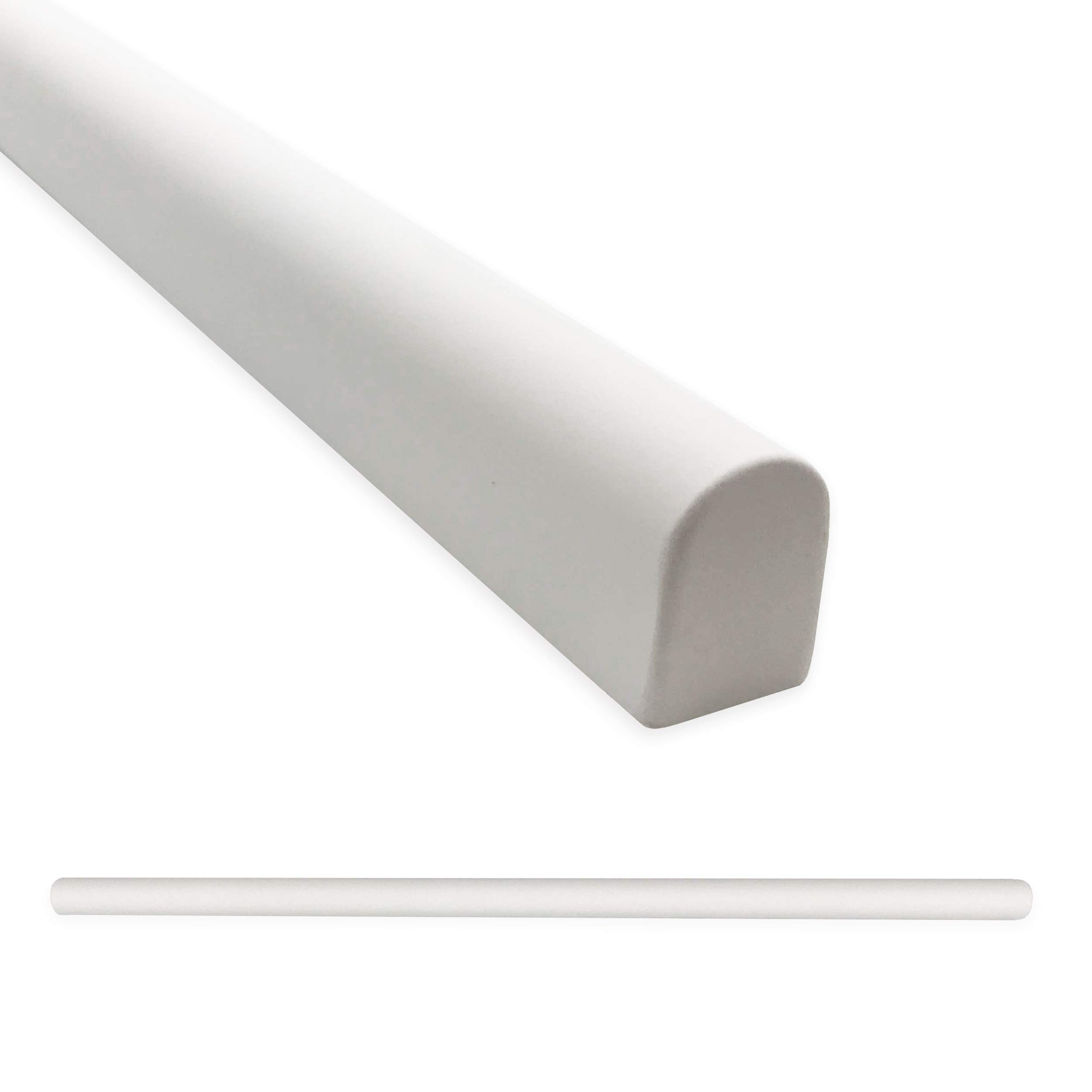 Tile Trim 1/2 X 12 inch Soho Pencil Shower Ceramic Tile Transition Liner Backsplash Wall Molding - Matte Bright White (6 Pack)