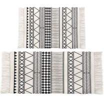 HEBE Cotton Area Rugs Set of 2 Piece 2'x3'+2'x4.2' Machine Washable Black and Cream Cotton Tassel Rugs Woven Cotton Runner Throw Rugs for Kitchen,Living Room