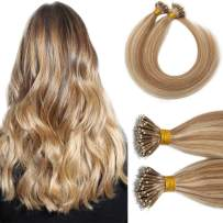 Nano Tip Remy Hair Extensions Nano Ring Human Hair Extensions Cold Fushion Tipped Real Hair Micro Beads Links Hairpiece Full Head Brazilian Hair For Women 16inch 50g/PACK 50 Strands #12P613