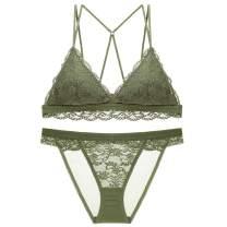 SHEKINI Lace Bralette for Women, Wireless Long line Triangle Bra Lace Panty Lingerie Set