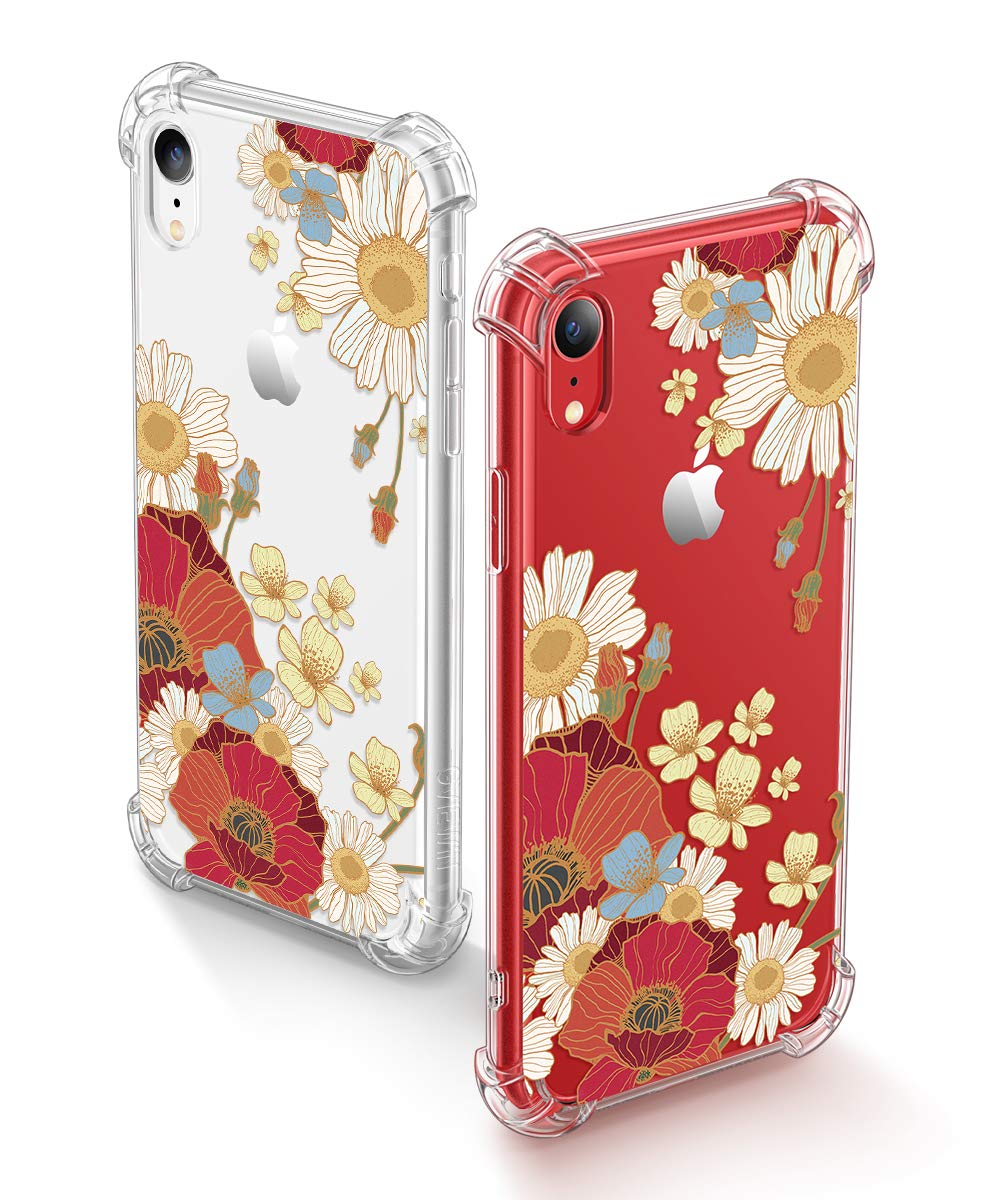 GVIEWIN iPhone XR Cases, Bouquet Series Unique Clear Floral XR Phone Case Girls Women Stylish Flexible Soft Slim Fit Anti-Shock Protective Cover for iPhone XR 6.1 Inch (Sunflower/Orange)